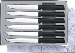 6 Non-Serrated Steak Knives Gift Set by Rada Cutlery - Black SS Resin* (SKU: G206)