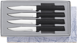 Four Serrated Steak Knives Gift Set by Rada Cutlery - Black SS Resin* (SKU: G24S)