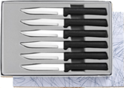 Six Serrated Steak Knives Gift Set by Rada Cutlery  - Black SS Resin* (SKU: G26S)