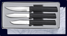 Paring Knives Galore 3 Knife Gift Set by Rada Cutlery- Black SS Resin*