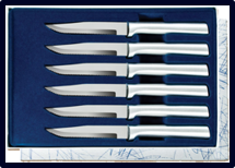 Six Serrated Steak Knives Gift Set by Rada Cutlery - Brushed Aluminum
