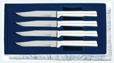 Four Serrated Steak Knives Gift Set by Rada Cutlery - Brushed Aluminum
