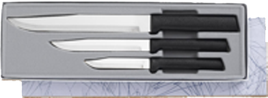 Housewarming Knives 3 Knife Gift Set by Rada Cutlery - Black SS Resin*