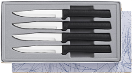 Four Serrated Steak Knives Gift Set by Rada Cutlery - Black SS Resin*