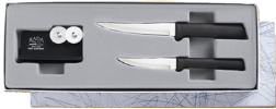 2 Paring Knife & Sharpener Gift Set by Rada Cutlery - Black SS Resin* (SKU: G236)