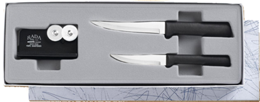 2 Paring Knife & Sharpener Gift Set by Rada Cutlery - Black SS Resin*