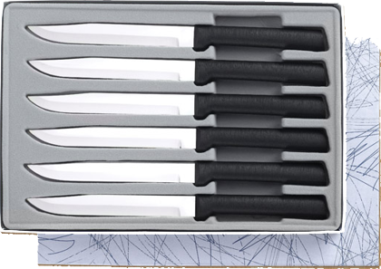 6 Non-Serrated Steak Knives Gift Set by Rada Cutlery - Black SS Resin*